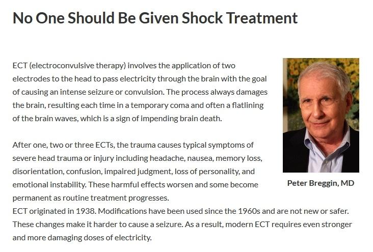 Ingen bör ges elchocksbehandling, Peter Breggin läkare och psykiatriker