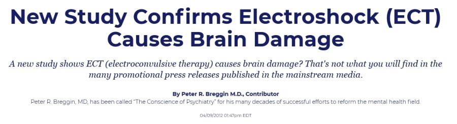 Ny studie bekräftar att elchocker (ECT) orsakar hjärnskador